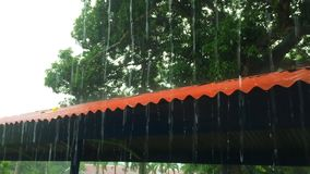 Fuertes lluvias sobre el tejado metrajes