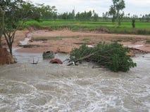 Fuertes lluvias y erosión causadas por derrumbamientos Fotos de archivo libres de regalías