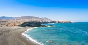 Fuerteventura, Ajuy beach in Canary island, Spain. Coast and ocean view of Ajuy beach in Fuerteventura, Canary island, Spain stock image