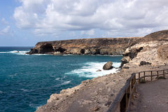 Fuerteventura - Ajuy cave along the coast, Canary Islands. Ajuy is a small remote fishing village on the west coast stock photography