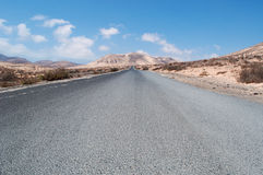 Fuerteventura, Canary Islands, Spain, Morro del jable, mountain, road, desert, landscape. The dirt road from Jandia to Morro del Jable on August 31, 2016. Morro Royalty Free Stock Image
