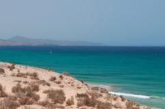 Fuerteventura, Canary Islands, Spain, beach, Sotavento, sand, surfing, nature, landscape, Ocean. A glimpse of Playa de Sotavento on August 30, 2016. Sotavento is Royalty Free Stock Images