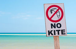 Fuerteventura, Canary Islands, Spain, beach, Jandia, surfing, kite, sign, lagoon, Ocean. No kite surf sign and the lagoon of Jandia beach on September 4, 2016 royalty free stock photo