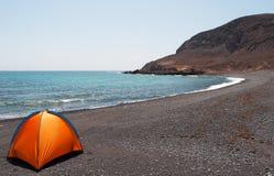 Fuerteventura, Canary Islands, Spain, beach, tent, camping, sand, black beach, nature, landscape Stock Photography