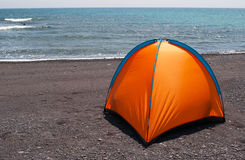Fuerteventura, Canary Islands, Spain, beach, tent, camping, sand, black beach, nature, landscape Royalty Free Stock Image