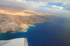 Fuerteventura, Canary Islands, Spain, view from airplane Stock Photography