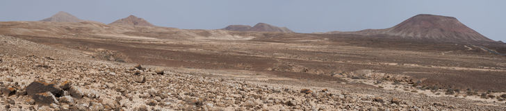 Fuerteventura, Canary islands, Spain, desert, landscape, nature, dirt road, climate change, mountain, volcano. View of Canary landscape with mountains and royalty free stock image