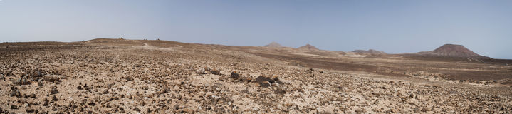 Fuerteventura, Canary islands, Spain, desert, landscape, nature, dirt road, climate change, mountain, volcano. View of Canary landscape with mountains and stock photo