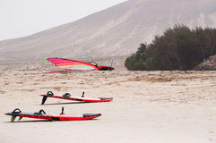 Fuerteventura, Canary Islands, Spain. Windsurf boards at Sotavento beach on August 30, 2016. Sotavento is one of the most famous beaches of Costa Calma, the Royalty Free Stock Photo