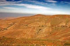 Fuerteventura central, Ilhas Canárias, vista norte de Mirador de Guisa y Ayose Fotos de Stock Royalty Free