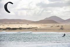 fuerteventura - corralejo - February 17, 2014: athlete in training session at corralejo beach royalty free stock photography