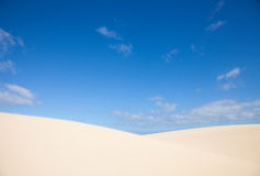 Fuerteventura; Corralejo sand dunes and sky Royalty Free Stock Images
