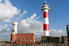 Fuerteventura - El Cotillo Lighthouse on the promontory of Punta Toston, Canary Islands. The lighthouse is situated on the north-western coast of the island near royalty free stock photos