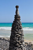 Fuerteventura Esquinzo beach 6. Beach Esquinzo with artistic pile of stones south of the island Fuerteventura (Canary Islands Royalty Free Stock Photography