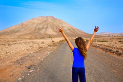 Fuerteventura girl in Tindaya mountain at Canary Stock Images