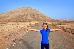 Fuerteventura girl in Tindaya mountain at Canary Royalty Free Stock Images