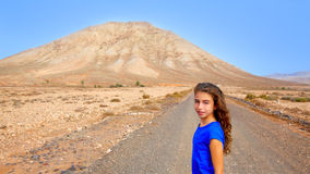 Fuerteventura girl in Tindaya mountain at Canary Stock Photography