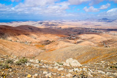 Fuerteventura krajobraz, wyspy kanaryjska, Hiszpania Obrazy Stock