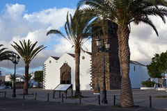 Fuerteventura - La Oliva, main church in the centre of the town, Canary Islands. Dedicated to the Virgen de la Candelaria, has three naves and a tower of black stock images