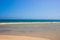 Fuerteventura - La Playa de la Barca, very popular place for watersport. It organize the World Championships of Surfing and Kitesurfing royalty free stock photography