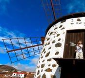 Fuerteventura, moulin à vent traditionnel Photos libres de droits