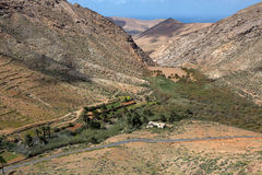 Fuerteventura,panorama,view,volcanic,rock,landscape,viewpoint,Canary Islands,Spain, Tourist,spring,outdoors,nature,Sea, Sky,Vacati. The viewpoint near Betancuria royalty free stock photos