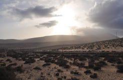 Fuerteventura road 10. Car road on the island Fuerteventura (Canary Islands Royalty Free Stock Photo