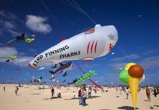 FUERTEVENTURA, SPANIEN - 10. NOVEMBER: Besucher genießen schöne Anzeige von Fliegendrachen an des 31. internationalen Drachen-Fes stockbild