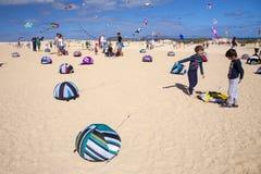FUERTEVENTURA, SPANIEN - 10. NOVEMBER: Besucher genießen schöne Anzeige von Fliegendrachen an des 31. internationalen Drachen-Fes lizenzfreie stockfotografie