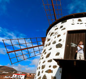 Fuerteventura, traditional windmill Royalty Free Stock Photos
