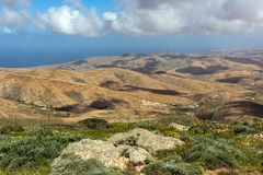 Fuerteventura - View from Mirador Morro Velosa, Canarian landscape. The unique panorama froma hight of about650 metres offers a view of the north of stock photos