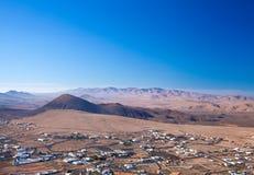 Fuerteventura, view from Tindaya. Inland Fuerteventura, village of Tindaya seen from the mountain bearing the same name stock photography
