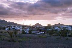 Fuerteventura. Village scene - hills on the horizon - cloudy sky - Fuerteventura, Canary Islands, Spain Royalty Free Stock Photo