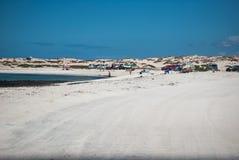 Fuerteventura, white sand beach camping. stock images