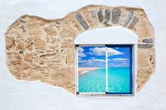 Fuerteventura a white window photomount Royalty Free Stock Photography