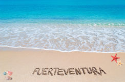 Fuerteventura writing Stock Photo