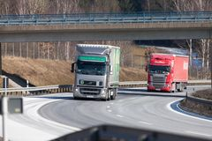 Truck from a czech forwarder drives on german motorway stock photo