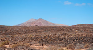 Fuerteventura, Canary Islands, Spain, mountain, red, desert, landscape, nature, climate change. View of Canary landscape with mountains and desertic land on royalty free stock photos