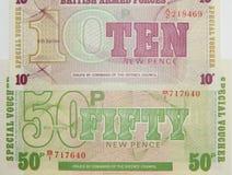 Fuerzas armadas de arma de británicos de los billetes de banco foto de archivo libre de regalías