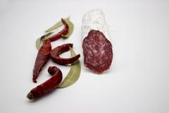 Fuet каталонский тонкий, сухой вылечено, сосиска мяса свинины в кишке свинины стоковое изображение rf