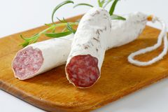 Fuet - Catalan dry cured sausage Royalty Free Stock Photography