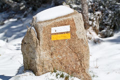 A fuga assina dentro a neve Fotografia de Stock