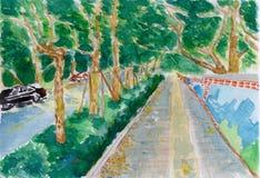 Fuga da árvore, uma pintura da aguarela Ilustração do Vetor