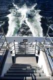 Fuga da ondinha atrás do barco imagem de stock royalty free
