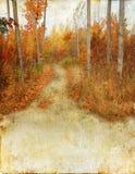 Fuga das madeiras do outono no fundo de Grunge Fotografia de Stock