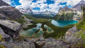 Fuga de caminhada bonita do lago Opabin no dia nebuloso na mola, Yoho, Canadá imagens de stock royalty free