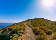 Fuga de caminhada de Oia a Fira em Santorini, Grécia imagem de stock