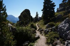 Fuga de caminhada no cume de Mastle em Tirol sul Fotos de Stock Royalty Free