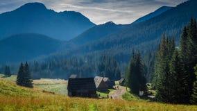 Fuga de montanha entre casas de campo no vale Chocholowska, montanhas de Tatra filme