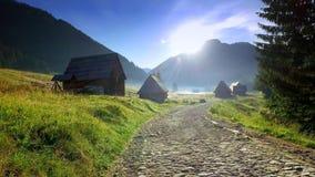 Fuga de montanha entre casas de campo no vale Chocholowska, montanhas de Tatra video estoque